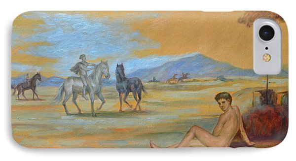 Original Oil Painting Art Male Nude With Horses On Canvas #16-2-5 IPhone Case by Hongtao     Huang