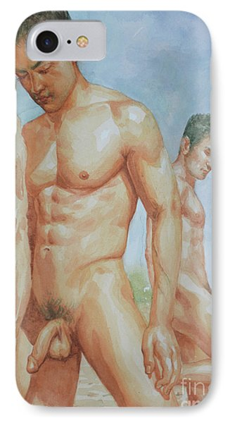 Original Watercolour Painting Art Young Men Male Nude Boys  On Paper #16-1-26-15 IPhone Case