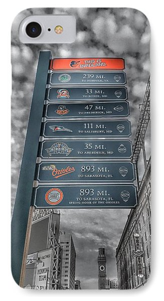 Oriole Park At Camden Yards Signs - Black And White IPhone Case by Marianna Mills