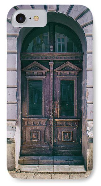 Ornamented Wooden Gate In Violet Tones IPhone Case by Jaroslaw Blaminsky