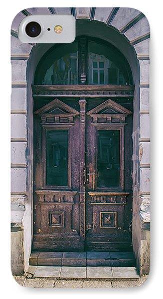 Ornamented Wooden Gate In Violet Tones IPhone Case by Jaroslaw Blaminsky