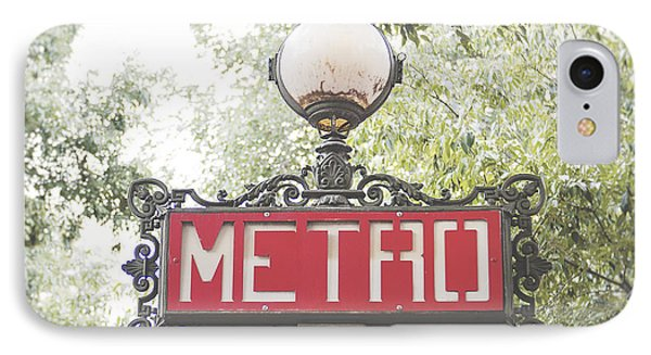 Transportation iPhone 7 Case - Ornate Paris Metro Sign by Ivy Ho