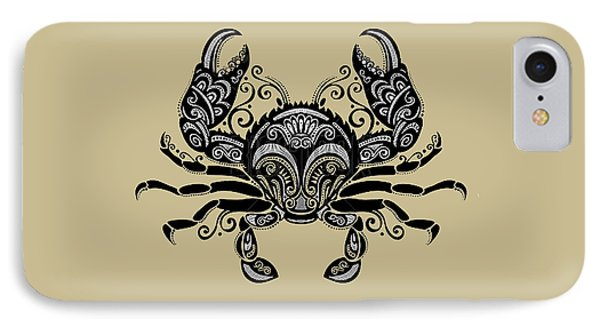 Ornate Tribal Tattoo Black And White Crab On Beige IPhone Case by Elaine Plesser