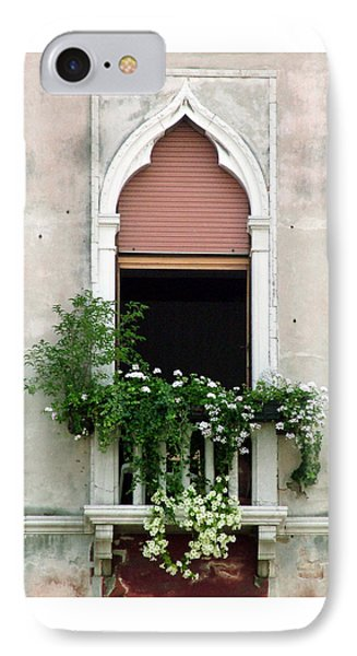 IPhone Case featuring the photograph Ornate Window With Red Shutters by Donna Corless
