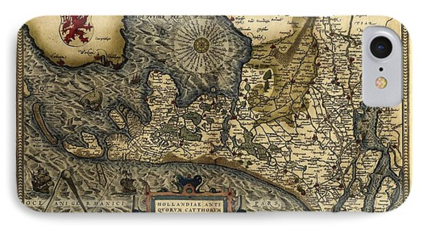 Ortelius's Map Of Holland, 1570 Phone Case by Library Of Congress, Geography And Map Division