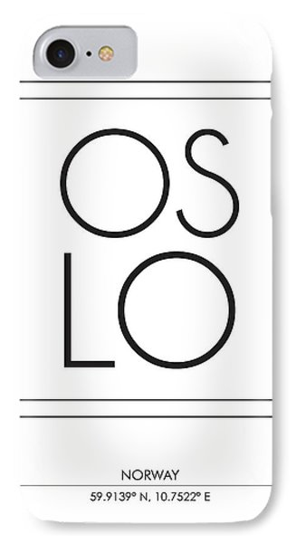 Oslo City Print With Coordinates IPhone Case