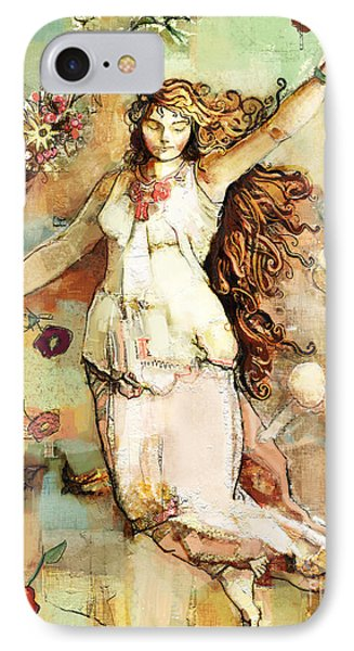 IPhone Case featuring the mixed media Ostara by Carrie Joy Byrnes