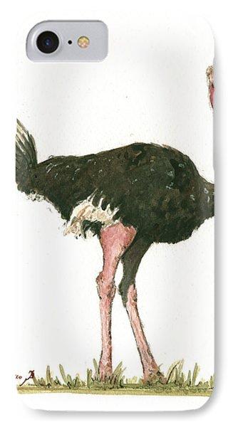 Ostrich iPhone 7 Case - Ostrich Bird by Juan Bosco