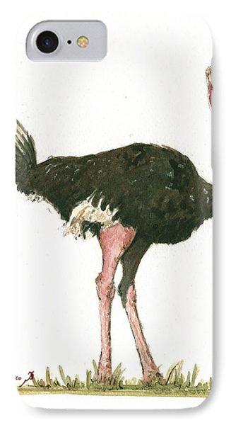 Ostrich Bird IPhone 7 Case by Juan Bosco