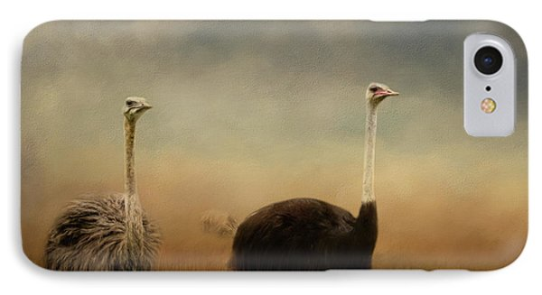 Ostrich Couple IPhone Case by Jai Johnson