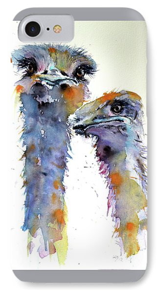 IPhone Case featuring the painting Ostriches by Kovacs Anna Brigitta