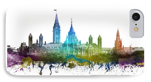 Ottawa Capital Hill Skyline 01 IPhone Case by Aged Pixel