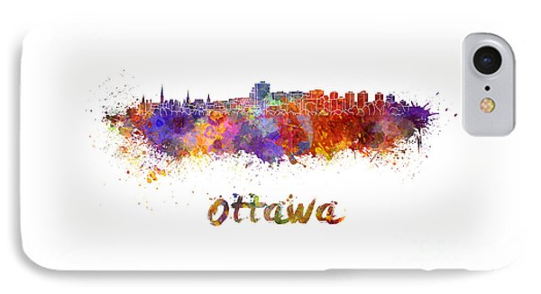 Ottawa Skyline In Watercolor IPhone Case