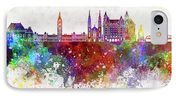 Ottawa V2 Skyline In Watercolor Background IPhone Case