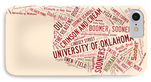 Ou Word Art University Of Oklahoma IPhone Case by Roberta Peake