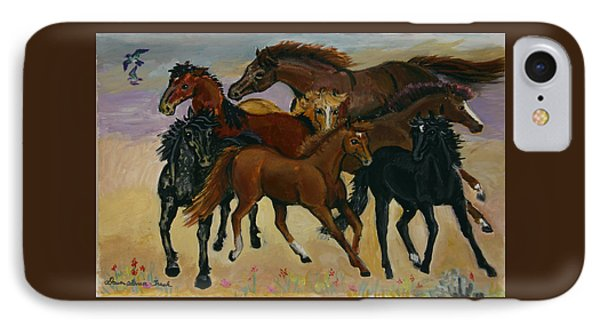 IPhone Case featuring the painting Our Horses by Dawn Senior-Trask