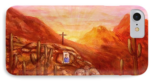 IPhone Case featuring the painting Our Lady Of The Desert by Judy Filarecki