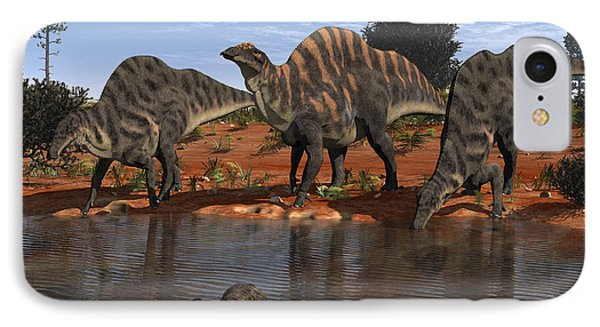 Ouranosaurus Drink At A Watering Hole Phone Case by Walter Myers