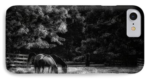 IPhone Case featuring the photograph Out To Pasture Bw by Mark Fuller
