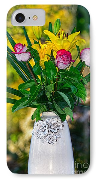 Outdoor Bouquet On Golden Bokeh By Kaye Menner IPhone Case by Kaye Menner