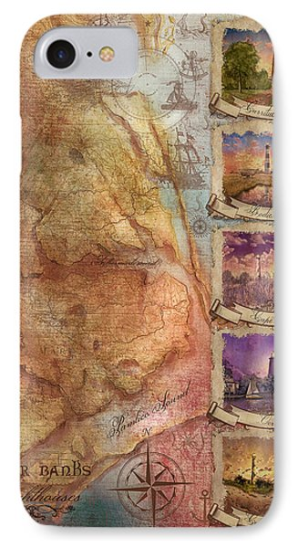 Outer Banks Lighthouse Map 3 IPhone Case