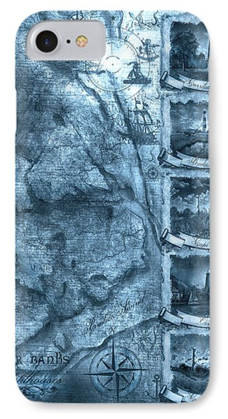 Outer Banks Lightouse Map 2 IPhone Case