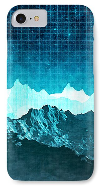 IPhone Case featuring the digital art Outer Space Mountains by Phil Perkins