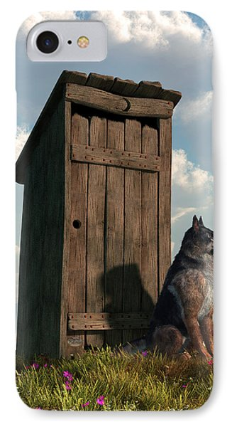 Outhouse Guardian - German Shepherd Version IPhone Case by Daniel Eskridge