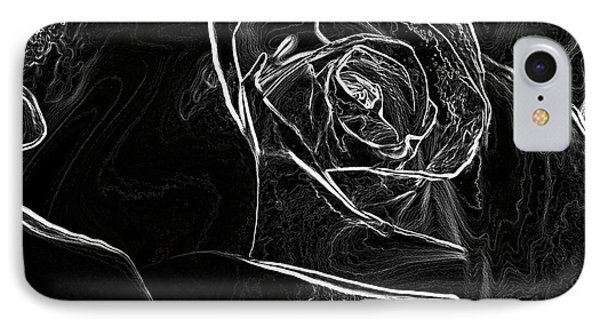 Outline Of A Rose IPhone Case by Micah May