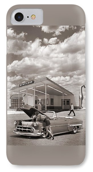 Over Heating At The Sinclair Station Sepia IPhone Case by Mike McGlothlen