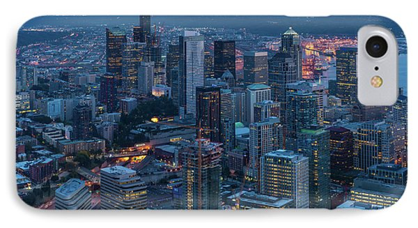 Over Seattle A Beautiful Downtown IPhone Case by Mike Reid