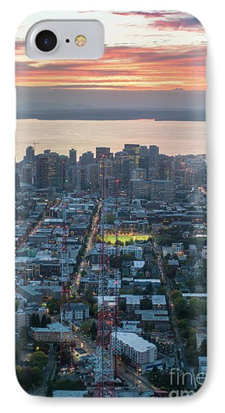 Over Seattle  Capitol Hills Towers IPhone Case by Mike Reid