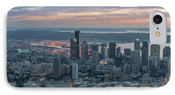 Over Seattle Downtown And The Stadiums IPhone Case by Mike Reid