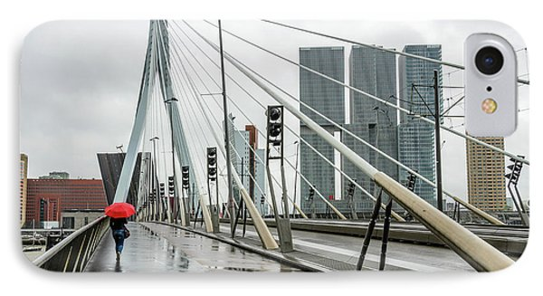 IPhone Case featuring the photograph Over The Erasmus Bridge In Rotterdam With Red Umbrella by RicardMN Photography
