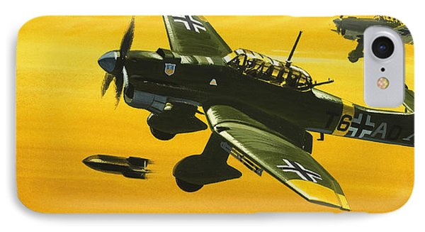 Overboard Junkers Ju87 Stuka Dive Bomber IPhone Case by Wilf Hardy