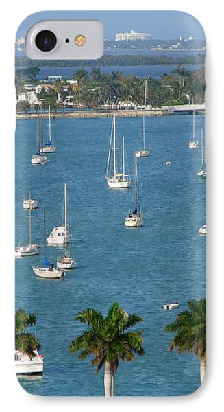 Overlooking A Miami Marina IPhone Case by Margaret Bobb