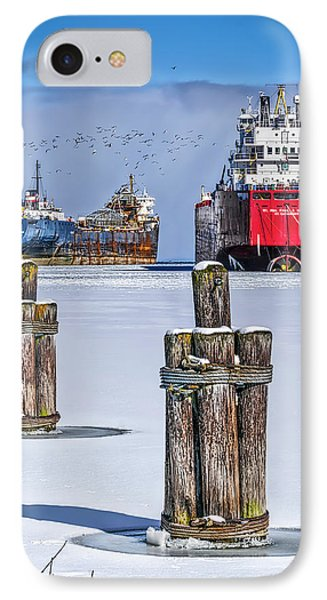 Owen Sound Winter Harbour Study #4 IPhone Case by Irwin Seidman