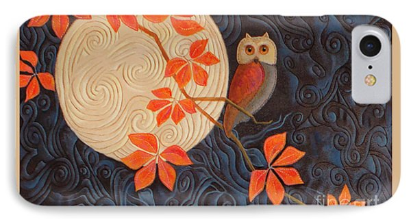 IPhone Case featuring the painting Owl And Moon On A Quilt by Nancy Lee Moran