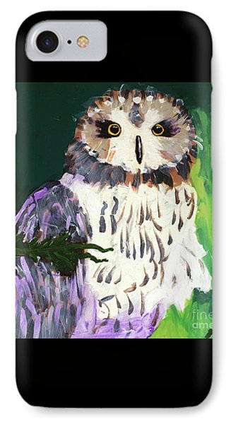 IPhone Case featuring the painting Owl Behind A Tree by Donald J Ryker III