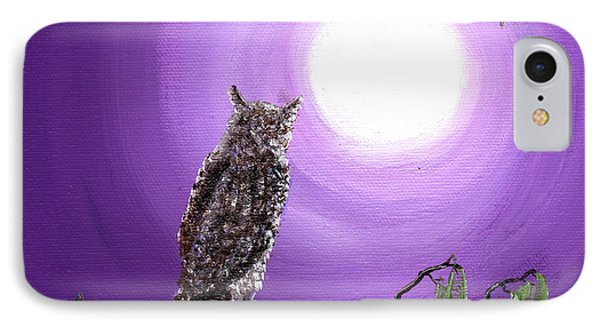 Owl On Mossy Branch IPhone Case by Laura Iverson