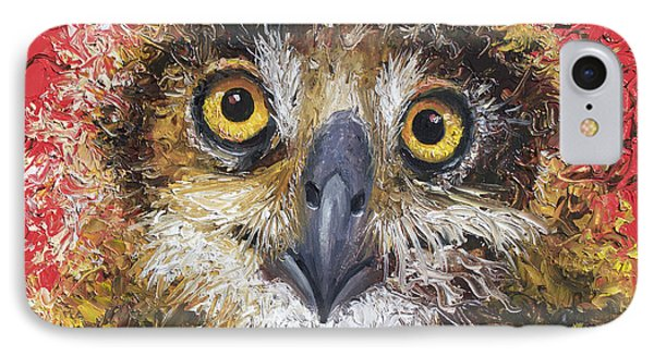 Owl Painting On Red Background IPhone Case by Jan Matson