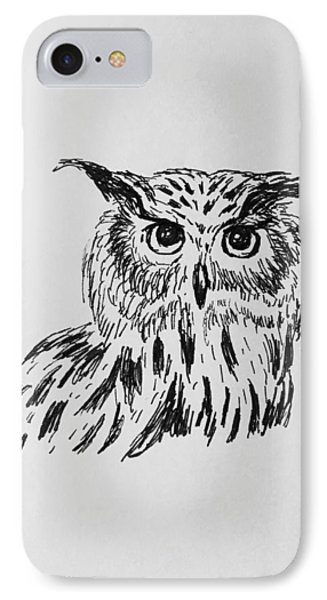 Owl Study 2 IPhone Case by Victoria Lakes