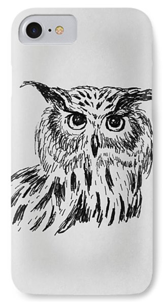 IPhone Case featuring the drawing Owl Study 2 by Victoria Lakes