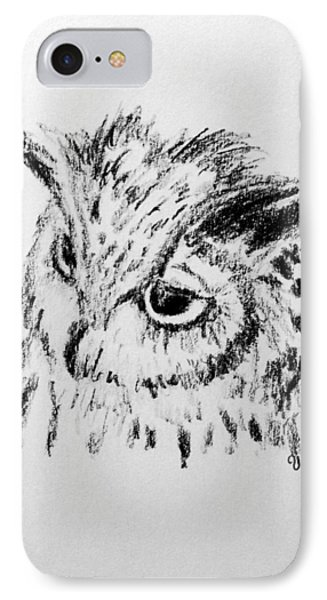 IPhone Case featuring the drawing Owl Study by Victoria Lakes