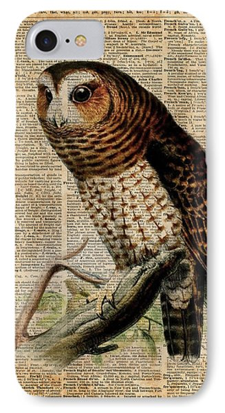 Owl Vintage Illustration Over Old Encyclopedia Page IPhone Case by Jacob Kuch
