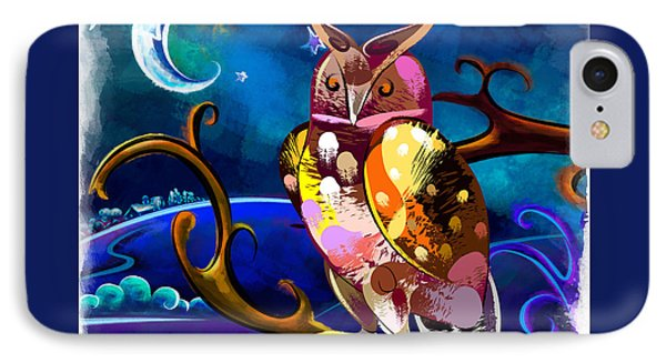 Owl Watching The Moon IPhone Case