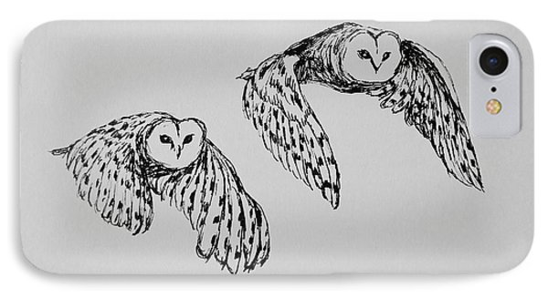IPhone Case featuring the drawing Owls In Flight by Victoria Lakes