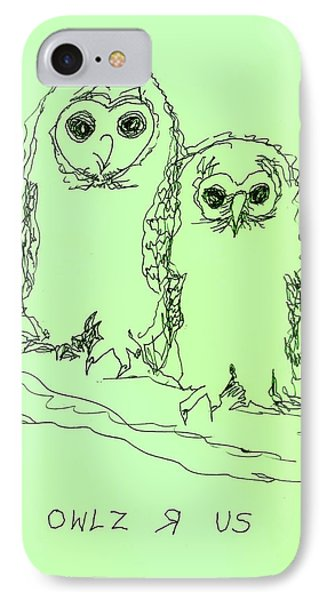 IPhone Case featuring the drawing Owlz R Us by Denise Fulmer