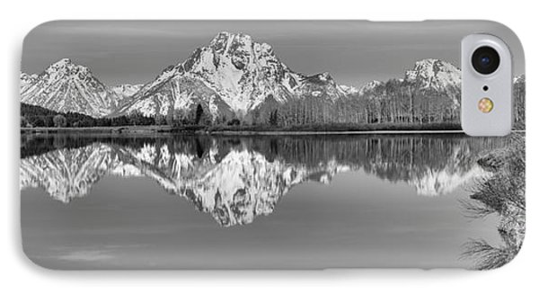 Oxbow Bend Panorama Black And White IPhone Case by Adam Jewell