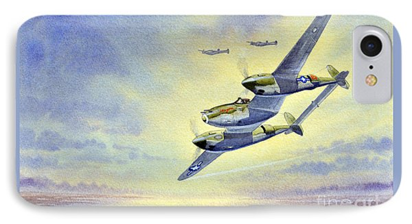 IPhone Case featuring the painting P-38 Lightning Aircraft by Bill Holkham